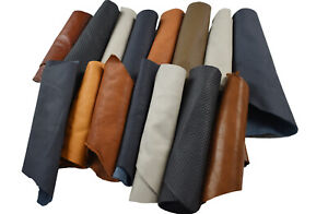 Genuine Leather Scraps - Full and corrected grain mix 2-3 hands   Multi-coloured