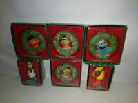 """Vintage 1988 Lot of 6 Sesame Street Muppets Christmas Ornaments 3"""" to 4"""" Tall"""