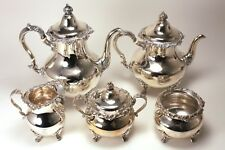 Beautiful Strasbourg by Gorham Sterling Silver 5pc.Coffee & Tea set Monogram 'T'