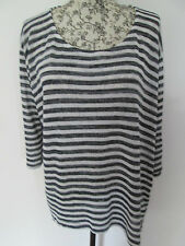 Dorothy Perkins- Black/White Short SLEEVED CREW NECK SUMMERJUMPER size 18
