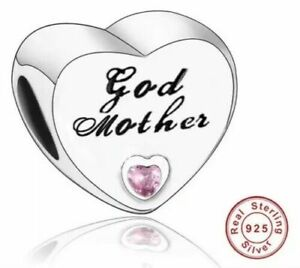 🇬🇧💜💜 925 STERLING SILVER GODMOTHER HEART FAMILY CHARM PINK CZ & POUCH
