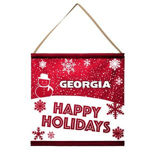 Georgia Bulldogs Happy Holidays Banner Sign Christmas Wall Door Decoration