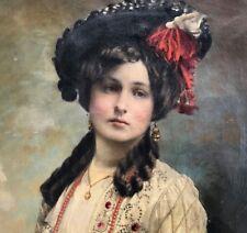 Ölgemälde Historismus Porträt elegante Dame bez. P.Lucca G.Wertheimer Wien ~1880