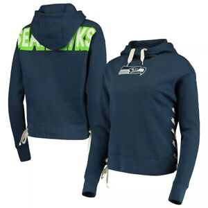 Junk Food Womens NFL Seattle Seahawks Lace-Up Side Pullover Hoodie New