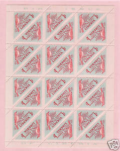 Liberia Sc 341 MNH. 1953 1c Bird, cplt sheet of 24, Imperf Vertically, ERROR