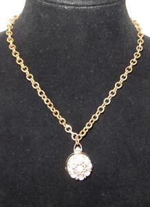 CORO - Goldtone & Rhinestone Quad Locket Necklace