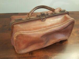 "Vintage Antique Gladstone Doctors Bag Snap Open Sides 13"" x 7"" x 6"" Use or Gift"