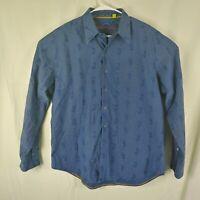 Robert Graham Mens XL Long Sleeve  Button Front Shirt Blue Embroid