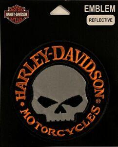 "Harley Davidson® Reflective Willie G Skull Hubcap Motorcycle Patch 4"" EM1029642"