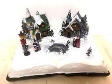 Weihnachtsszene Weihnachtsmann Buch m. LED Beleuchtung Licht Weihnachten Baum A