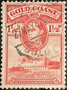 Stamp Gold Coast SG122a 1938 1 1/2d King George VI and Castle Used