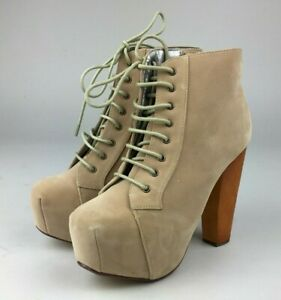 WOMENS LADIES WOODEN BLOCK HIGH HEEL LACE UP PLATFORM ANKLE BOOTS SIZE UK 5