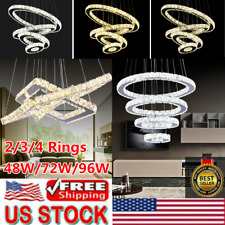 Modern LED Crystal Chandeliers Pendant Lamp Round Square Ceiling Light Dimmable