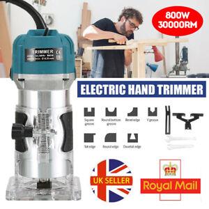 "Electric Hand Trimmer Palm Router Laminate Wood Laminator 800W 220V 1/4"" Blue UK"