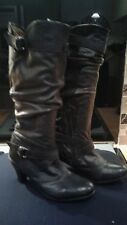 BNWOB Ladies black leather slouched knee high boots with strap details. Size 41.