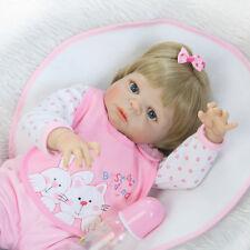 "22"" Full Body Silicone Reborn Baby Doll Girl Lifelike Newborn Babies Blonde Hair"