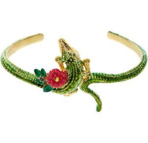 Les Nereides Crocodile Bangle 14 ct Plated Alligator Flower Bracelet RRP 155