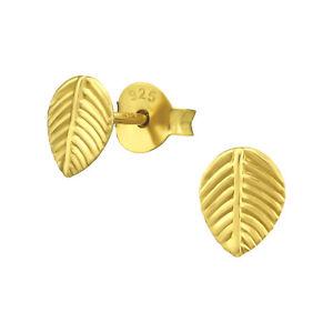 14k Gold on 925 Sterling Silver Leaf Teardrop Stud Earrings Women Girls Men