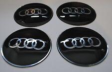 SET OF 4 AUDI Wheel Hub Caps Badge Emblem Stickers METAL 65mm QUALITY BIG GLASS