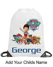 Paw Patrol Boy Personalised School Gym Swimming PE Nursery Drawstring Bag Gift