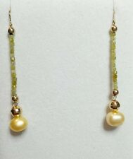 Long Lariat 3ct canary yellow Diamond 14k gold freshwater pearl dangle earrings