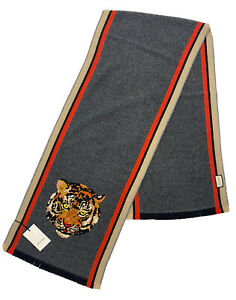$1,500 Gucci Gray Cashmere and Wool Scarf With Tiger Face Made in Italy