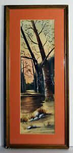 """15"""" Vintage Watercolor Painting Paper Amazing Forestscape Trees Creek Water"""