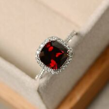 2.50Ct Cushion Cut Red Garnet Halo Engagement Ring Solid 14K White Gold Finish