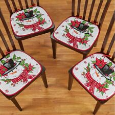 Set of 4 Frosty The Snowman Christmas Kitchen Chair Pad Cushions w/ Ties
