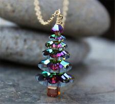 Women Magic Christmas Tree Crystal Pendant Choker Collar Chain Necklace Xmas
