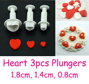Heart Fondant Plunger Cutter (3pcs) Small Hearts Sugarcraft Cake Topper 2cm