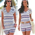 Femmes Vacances mini combinaison pour barboteuse robe de plage été taille 6-14