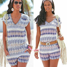 Womens Holiday Mini Playsuit Ladies Jumpsuit Romper Summer Beach Dress Size 6-14