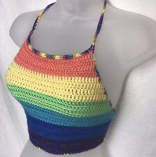 48159cd2218ba New Women Crochet Rainbow Halter Top Handmade Bra Boho Bikini Bralette Tank  Crop