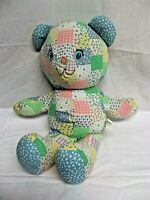 "15"" Knickerbocker 1981 HOLLY HOBBIE'S TEDDY BEAR PATCHWORK FABRIC stuffed toy"