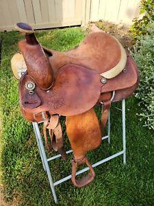 "16"" Circle Y - Roping Saddle -All Round, Western Tooling, Good Saddle"
