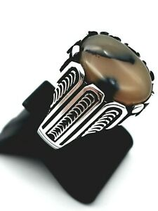 HANDMADE 925 STERLING SILVER ROUND BROWN WHITE MILK AGATE MEN'S RING SIZE 12