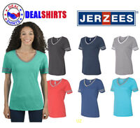 Jerzees Ladies' TRI-BLEND Varsity V-Neck T-Shirt-602WVR
