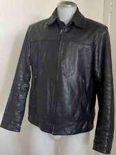 Mens Banana Republic Leather Safari Jacket Die Hard Bruce Willis Black Sz Med