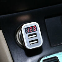 8E2F Plastic Two Dual USB Output Cars Charger Charging With Voltmeter Display