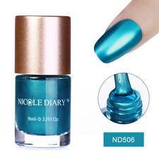 NICOLE DIARY 9ml Mirror Metallic Nail Art Polish Blue Shiny Varnish Tools Decor