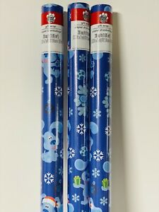 3 New BLUE'S CLUES & You! CHRISTMAS 20sq ft WRAPPING Paper SNOWFLAKES Puppy Dog