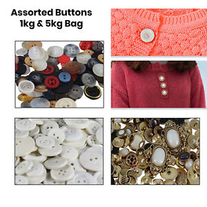 Mixed Crafting Buttons Assorted Gold White Plastic Buttons Crafts Clothes JOBLOT
