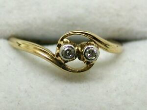 Antique / Vintage 18 Carat Gold Two Stone Diamond Ring size N.1/2