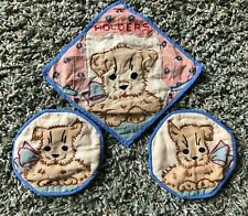 New listing Vintage Handmade Embroidered Pot Holders W/Dogs Beautiful Craftmanship