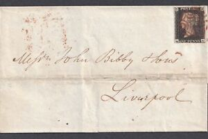 1840 Penny Black Plate 8 Red MX on 1841 Manchester to Liverpool Cover