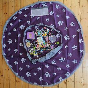 1x Large and 1x Small Portable Kids Play Mat Storage Bag Toys Organizer Rug Box