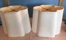 "Pair of Leonard Foss MCM Beige Lamp Shades Clover Shaped 13.5"" tall"
