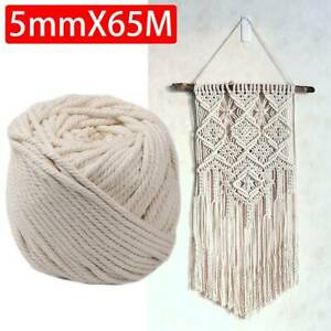 5mm 65M Beige Cotton Twisted Cord Rope Craft Macrame Artisan String Natural RD