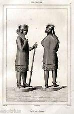 Sardegna: idolo della Civiltà Nuragica.Acciaio.Stampa Antica + Passepartout.1839